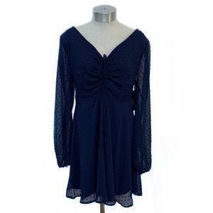 NWT LULU'S Navy Chiffon Sheer Sleeve Mini Dress XL